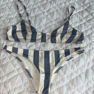 Women's solid and striped swimsuit